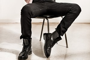 male black leather boots shoes