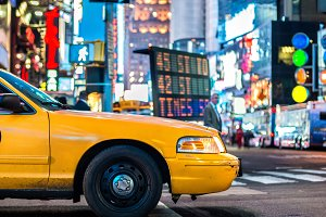 Yellow cab taxi in New York