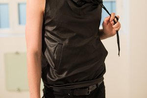 black leather sleeveless hoodie