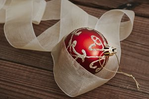 ball decorative for christmas about wooden ancient
