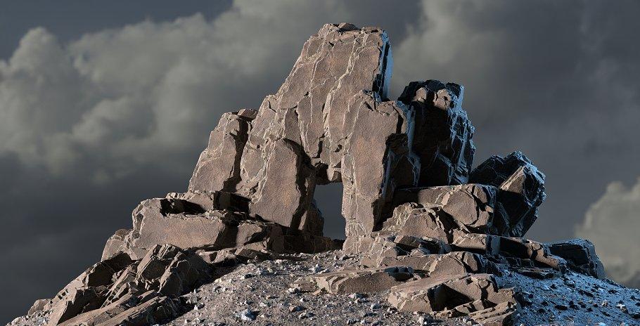 Blocky cliff