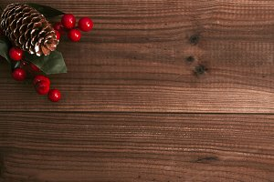 background of wood rustic with decoration of christmas