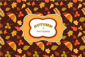 Vector autumn patterns set + frames