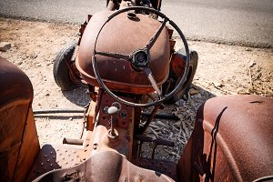 An old abandoned tractor