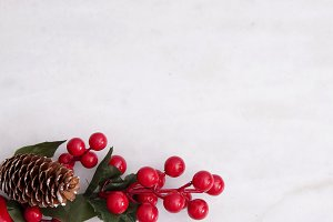 natural white background with christmas ornaments