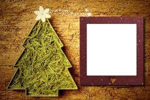 Hippie Christmas tree photo frame