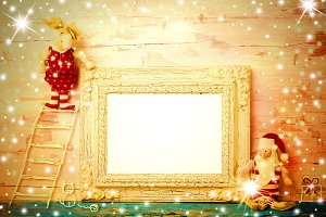 Cheerful empty photo frame Christmas