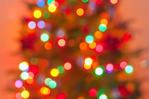Blurred colorful Christmas tree