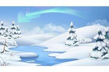 Winter landscape. 3d vector