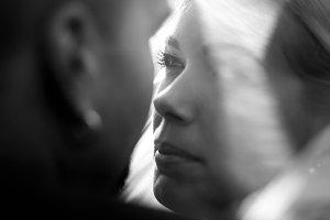 A closeup of bride's face