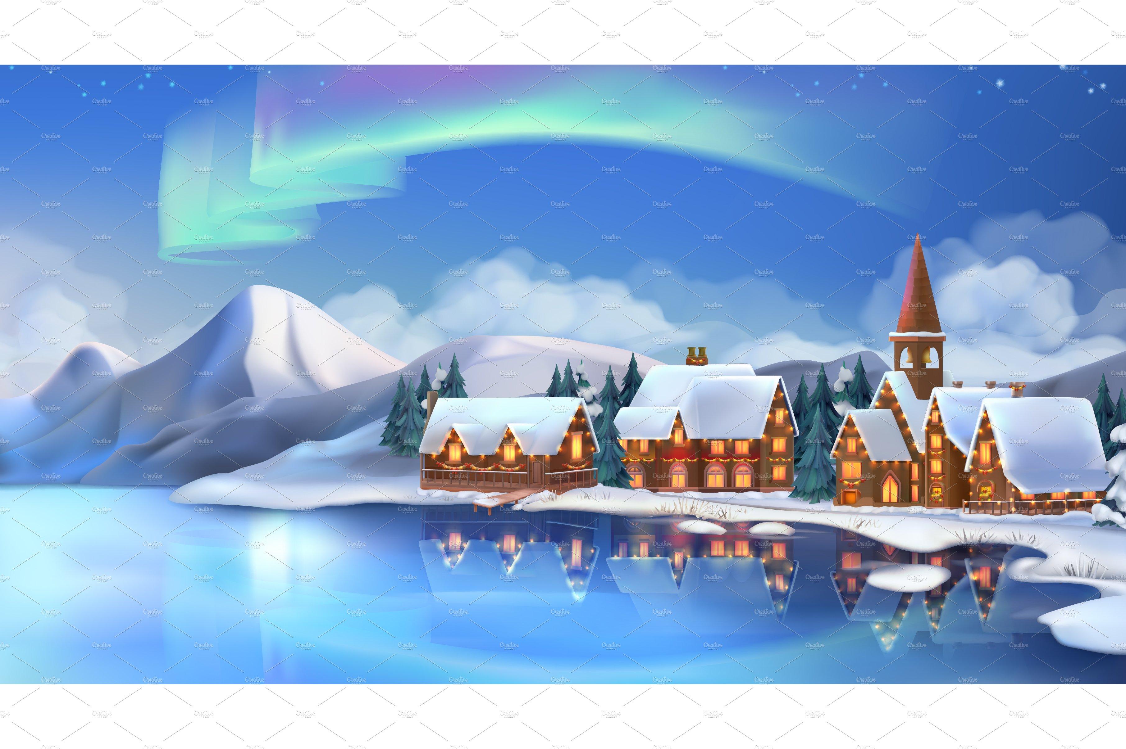 Landscape Illustration Vector Free: Winter Landscape New Year Background