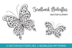 Scrollwork Butterfly Vector Clipart