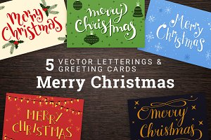 5 Merry Christmas Cards & Lettering