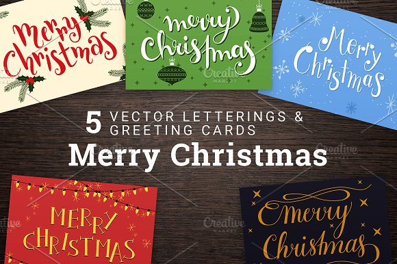 5 Merry Christmas Cards Lettering