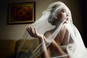A portrait of beautiful bride
