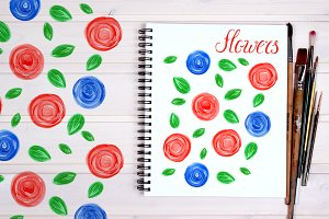 Seamless floral acrylic patterns