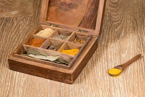 Indian spices in wooden box