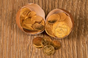 Gold coins in egg shell for nest egg
