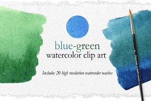Blue-Green Watercolor Washes Clipart