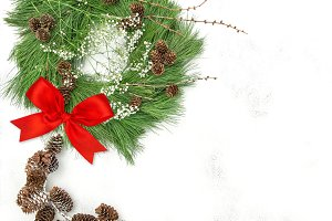 Christmas wreath red ribbon bow