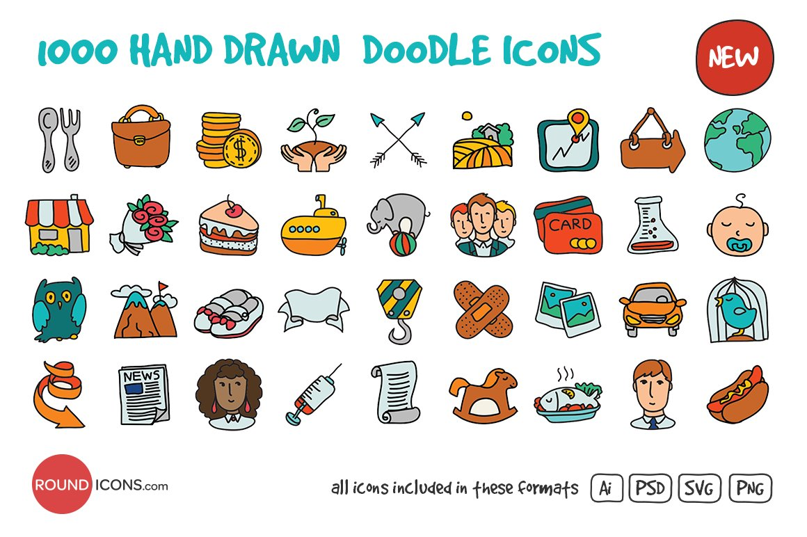 Hand Drawing Line Icons : Hand drawn doodle icons creative market
