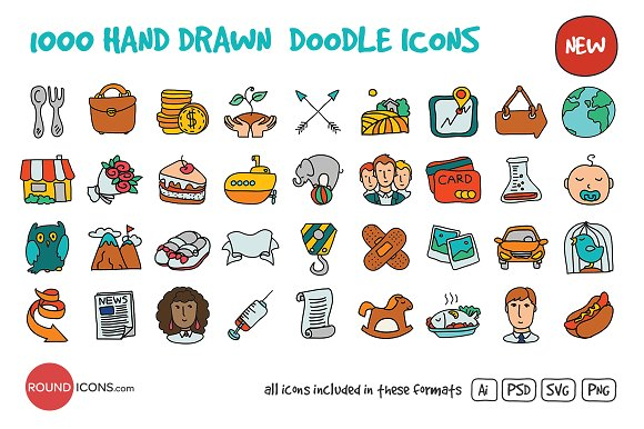 1000 hand drawn doodle icons icons creative market