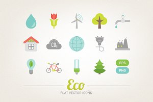 Flat ecological icons