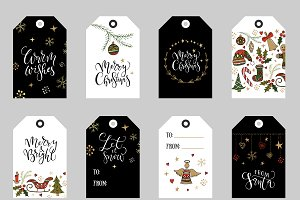 Christmas tags, labels & badges set