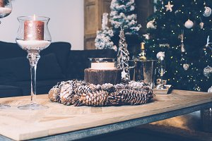 Close up table with Christmas decor