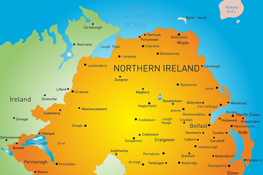 Country Of Ireland Map.Map Of Northern Ireland Country
