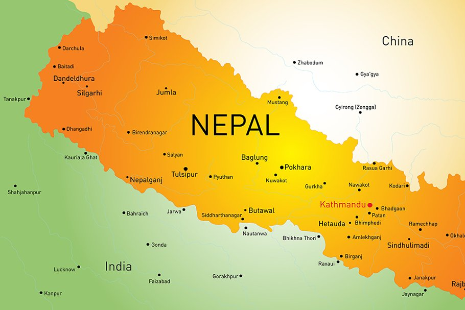 Vector map of Nepal country ~ Illustrations ~ Creative Market