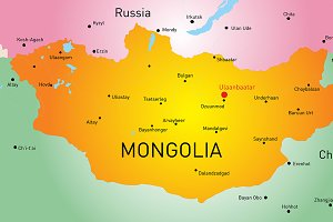 Vector map of Mongolia country