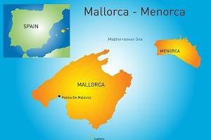 map of Mallorca-Menorca, Spain