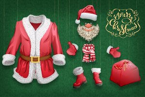 Set of Christmas accessories Santa