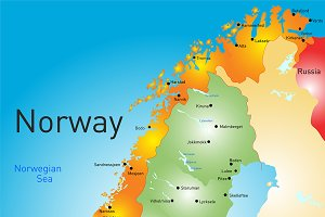 Vector color map of Norway country