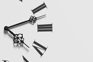 The face of clock on gray background
