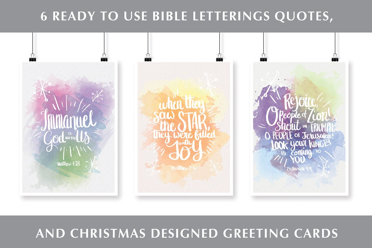 Christmas Bible Quotes.Vector Set Christmas Bible Quotes Illustrations