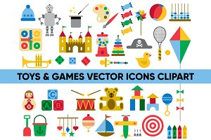 TOYS & GAMES vector icons clipart