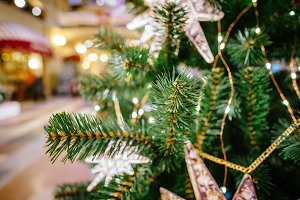 Christmas tree decoration closeup for background. New year firt branch photography