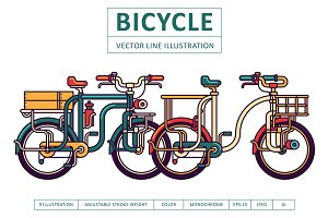 Bicycle Vector Line Illustration