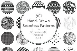 60% OFF! 50 Hand-Drawn Patterns