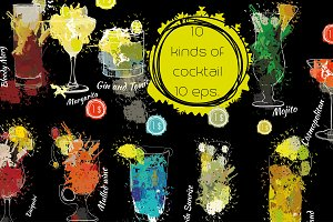 Set of Cocktails, Watercolor effect