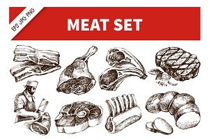 Hand Drawn Sketch Meat Vector Set