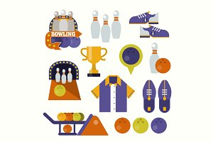 Vector flat bowling items, icons.