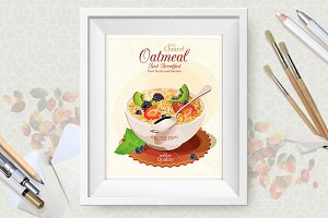 Oatmeal Vector Poster Set