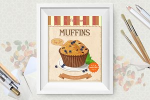 Muffin Vector Poster Set