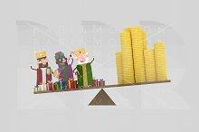 3d illustration. Magic kings Balance