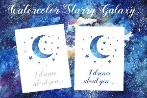 Watercolor Starry Galaxy and cards