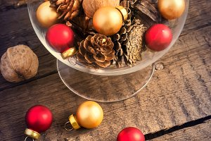 Christmas balls, cones and walnuts