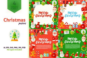 Merry Christmas Greeting Posters